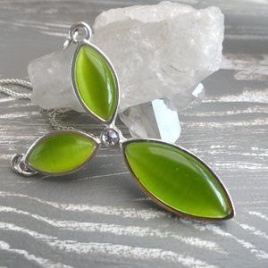Green Leaf Pendant Necklace | Silver chain